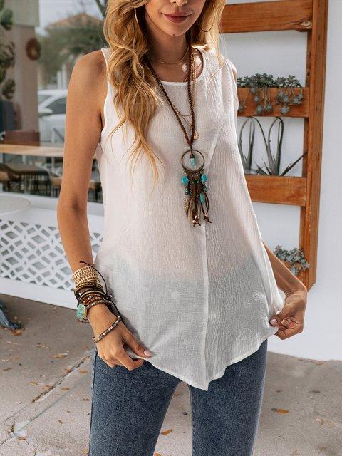 White Sleeveless Casual V Neck Shirts & Tops