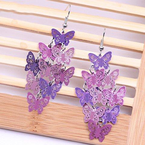 Colorful Copper Butterfly Earrings