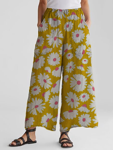 Vintage Casual Plus Size Daisy Floral Printed Pants