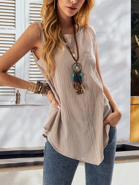 Gray Linen Sleeveless Casual Shirts & Tops