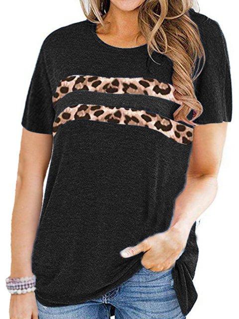 Leopard Short Sleeve Leopard-Print One-Pieces