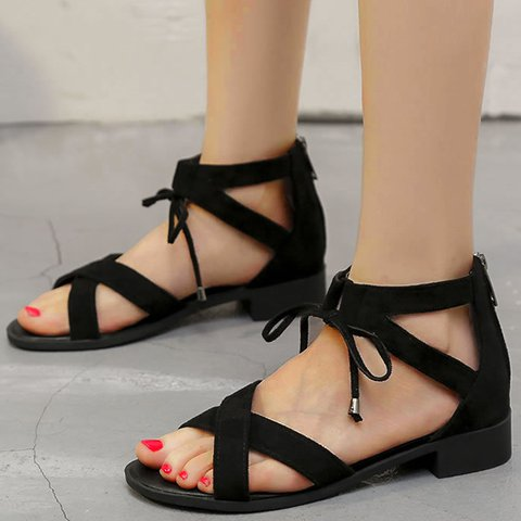 Summer Artificial Suede Low Heel zipper Sandals