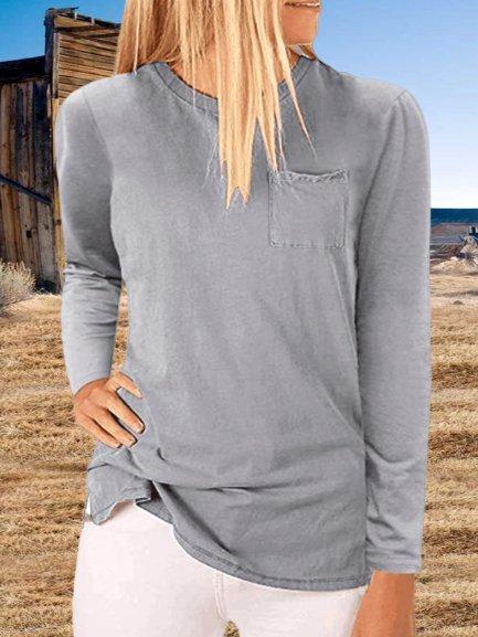 Vintage Plain Pockets Plus Size Long Sleeve Crew Neck Casual Tops