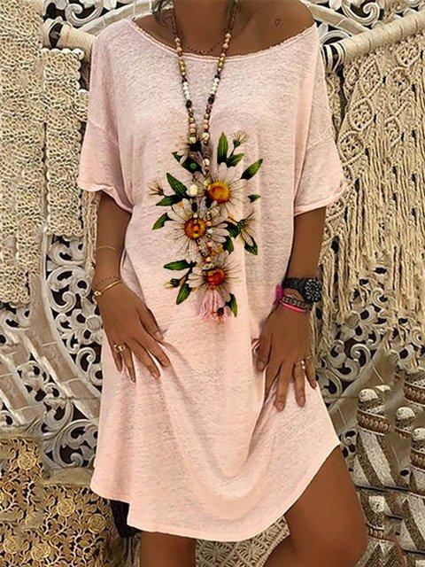 Pink Printed Round Neck Simple Dresses