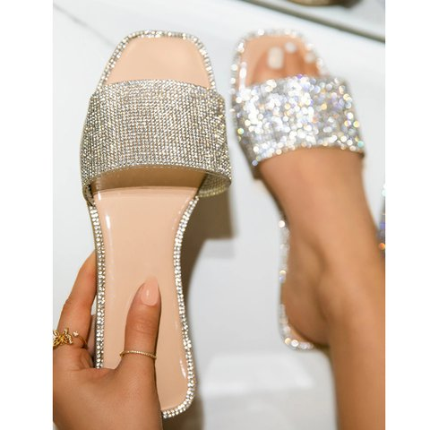 Summer Artificial Leather Rhinestone Slippers