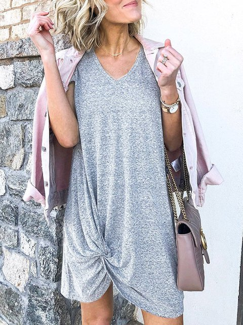 Silver V Neck Plain Bow Short Sleeve Dresses