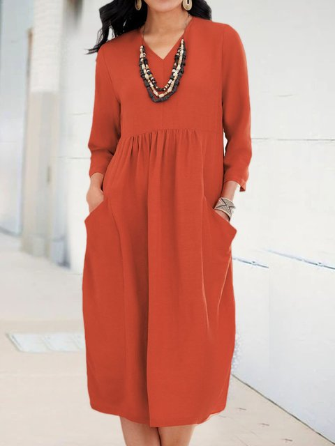 Women Caftan Pockets V-Neck Solid Linen Dresses