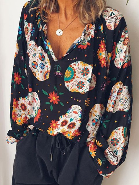 Black Floral-Print Holiday Shift Shirts & Tops
