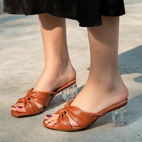Women Slide Peep Toe PU Date Transparent Chunky Heel Sandals