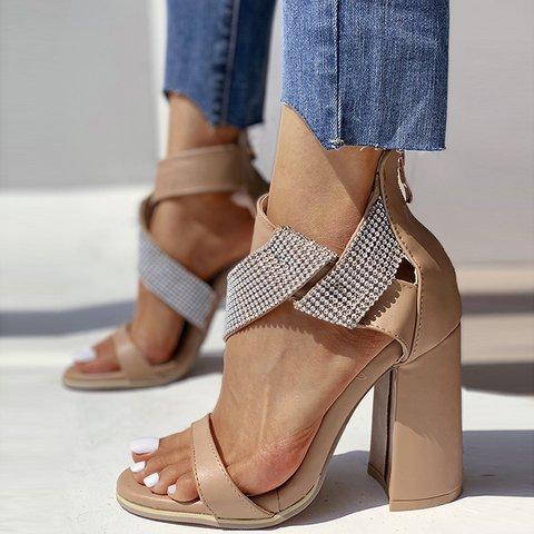 Rhinestone Zip Block Heels