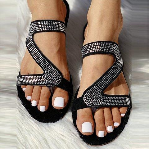 Flat Heel Sparkling Glitter Sparkling Glitter Summer Slippers