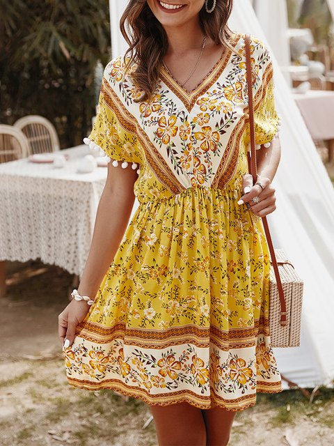 V Neck Dresses A-Line Holiday Vintage Mini Dress