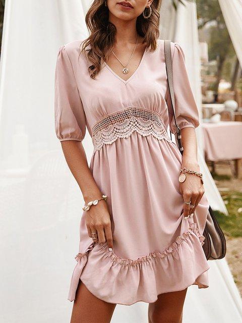 V Neck Dresses A-Line Date Cutout Dresses