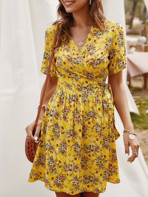V Neck Dresses Date Floral-Print Floral Mini Dress