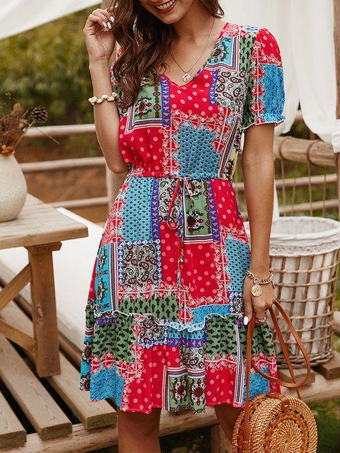 V Neck Colorblock Holiday Dress