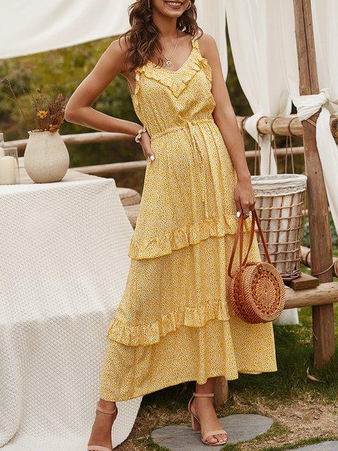 V Neck Dresses A-Line Tiered Maxi Dress