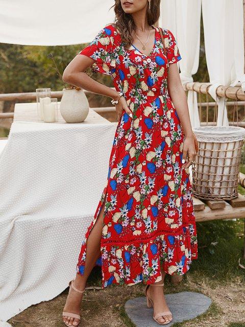 V Neck Dresses A-Line Vintage Maxi Dress