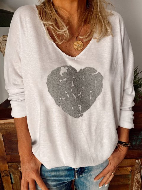 Long Sleeve Round Neck Cotton-Blend Printed Shirts & Tops