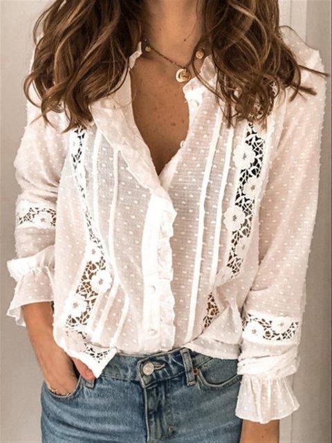 Lace Shift Casual Shirts & Tops