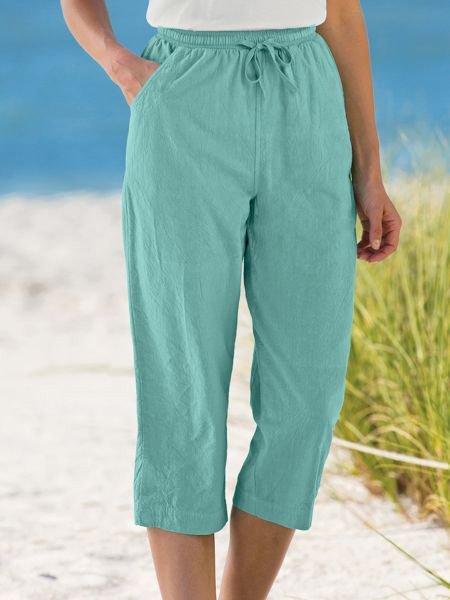 Women Pockets Drawstring Shift Solid Casual Cropped Pants