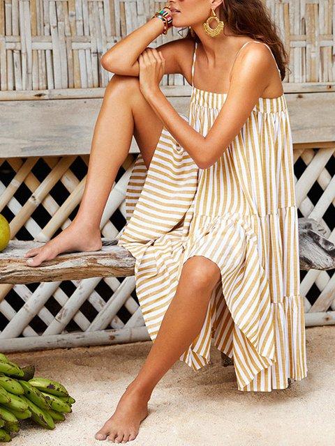Holiday A-shoulder striped dress