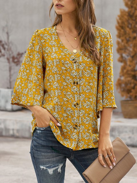 Yellow Floral Holiday V Neck Shirt & Top