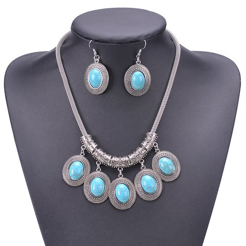 Women Turquoise Vintage  Necklaces Earrings Sets