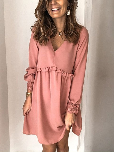 Casual Long Sleeve V Neck Dresses