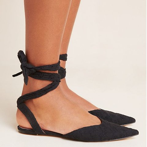 Black Lace-Up Casual Summer Flats