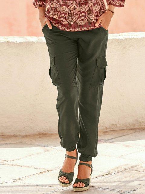 Women Solid Pockets Pants Plus Size Trousers