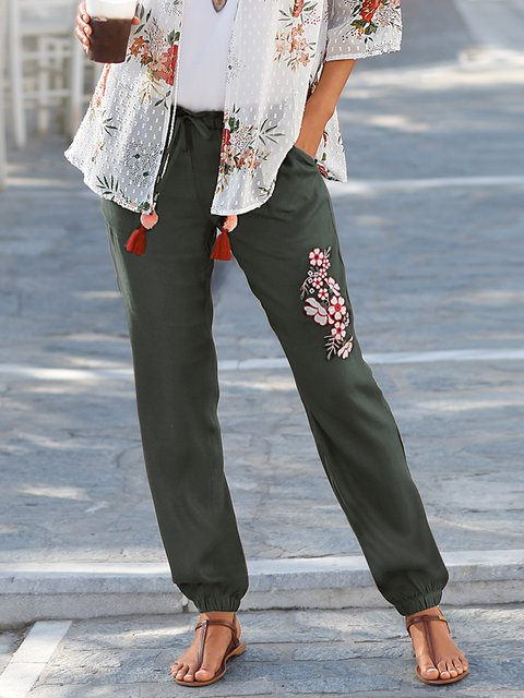 Women Embroidery Pants Pockets Trousers
