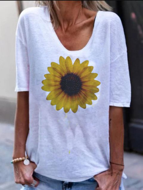 White Printed Half Sleeve Round Neck Tops