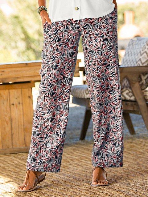 Women Printed Pants Plus Size Pockets Trousers