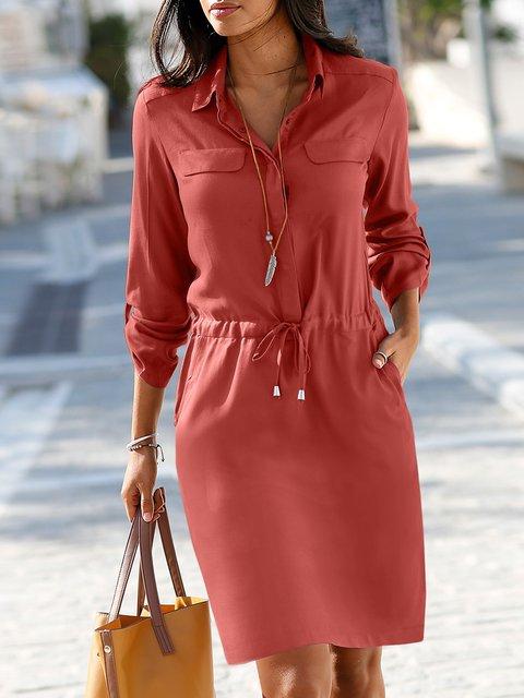 Solid Pockets Mini Dress Long Sleeve Shirt Dresses