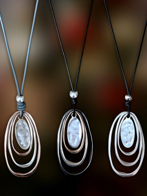 Alloy Oval Pendant Long Necklaces