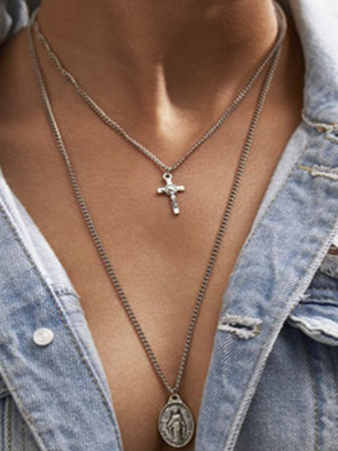 Women Silver Multi-layer Pendant Cross Long Necklaces