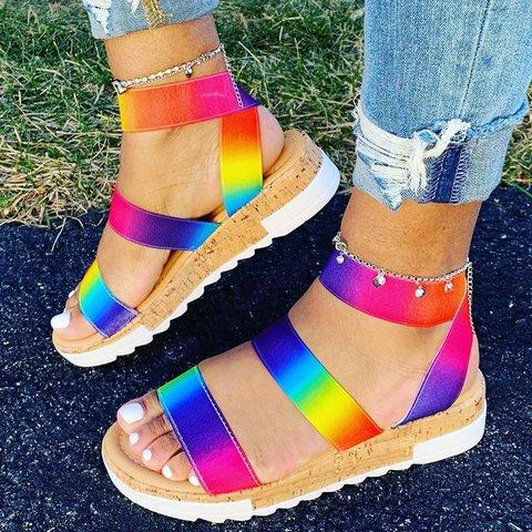 Pu Platform Plus Size Colorful Open Toe Gladiator Sandals