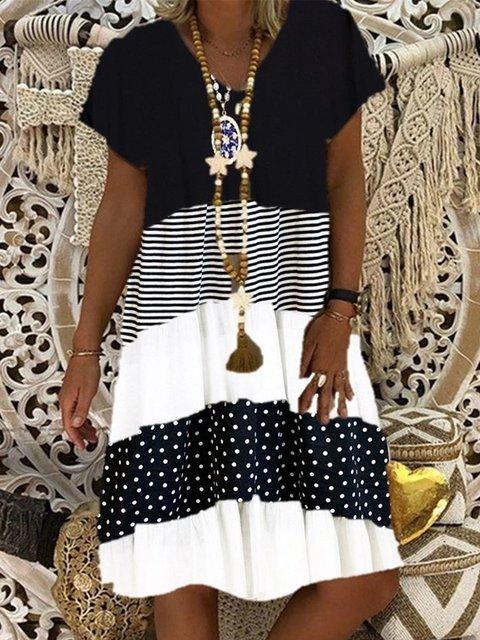 Women Striped Polka Dot Short Sleeve V-neck Midi Dress