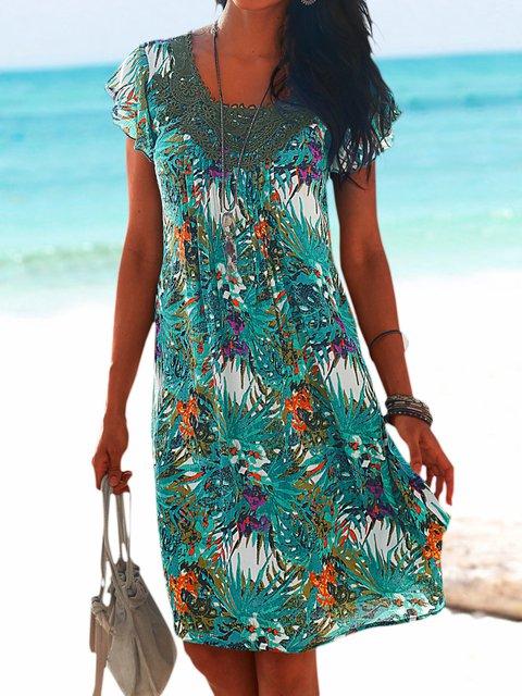 Summer Mini Dress Women Crew Neck Paneled Dresses