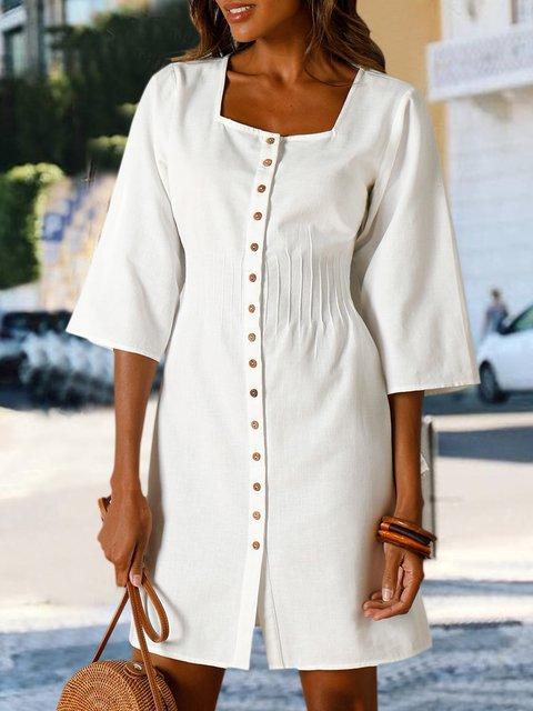 Solid Mini Dress Plus Size Buttoned 3/4 Sleeve Dresses