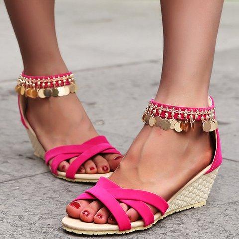 Tassel Wedge Heel Open Toe Zipper Boho Sandals