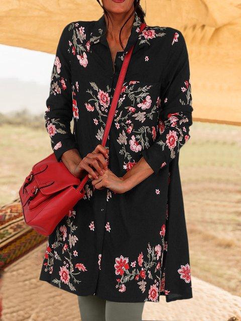 Women Floral Tunic Plus Size Long Sleeve Shirts