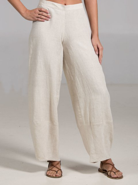 White Solid Cotton Casual Pants