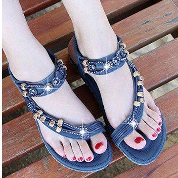 Rhinestone Pu Beach Sandals