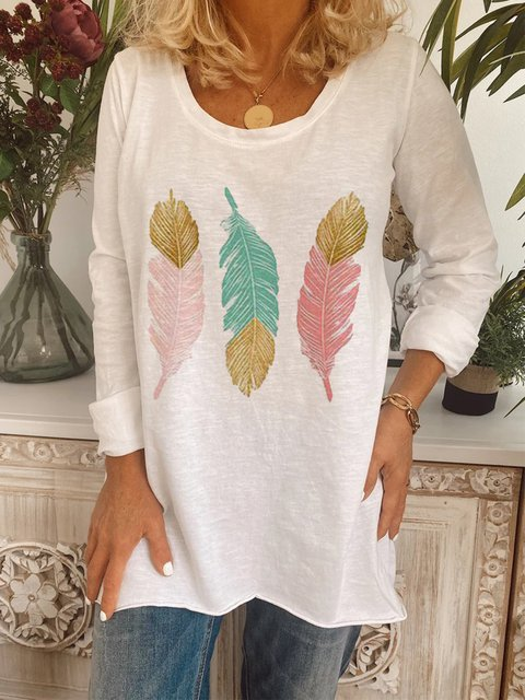 White Short Sleeve Printed Cotton-Blend Shirts & Tops