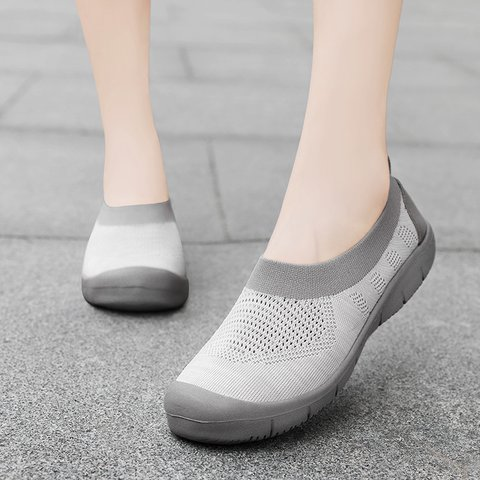 Fly-Woven Fabric Solid Athletic Sneakers