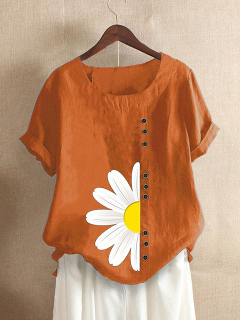 Orange Casual Floral-print Shirts & Tops