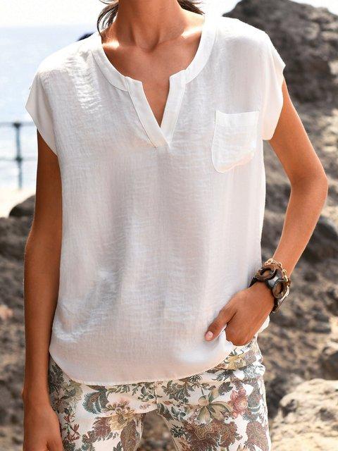 White Cotton Casual V Neck Plain Shirts & Tops