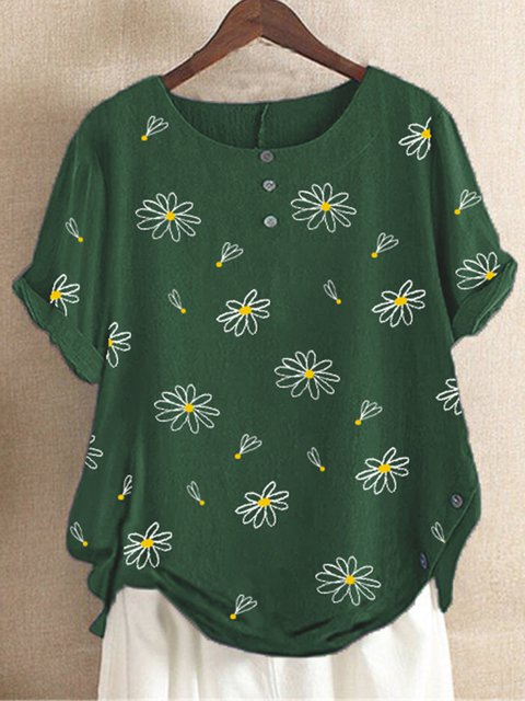 Green Floral-Print Casual Round Neck Shirts & Tops