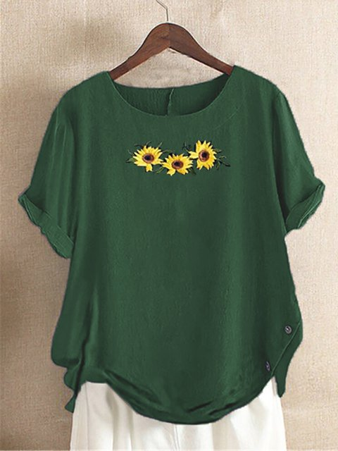 Green Casual Floral Floral-Print Cotton Shirts & Tops